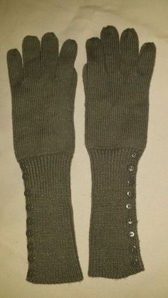 Fashion Gloves Gray Mittens Long Grey Winter Arm Warmers w/ Buttons Cotton Knit #Unbranded #WinterGloves #Casual