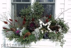 From my neck of the woods Insulate Windows Generally, insulation is connected with the fluffy Christmas Window Boxes, Winter Window Boxes, Christmas Urns, Christmas Planters, Country Christmas Decorations, Xmas Decorations, Christmas Wreaths, Christmas Crafts, Holiday Decor