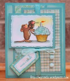 by - Cards and Paper Crafts at Splitcoaststampers Diy Birthday, Happy Birthday Cards, Bday Cards, Birthday Greetings, House Mouse Stamps, Mouse Color, Scrapbooking, Copics, Prismacolor