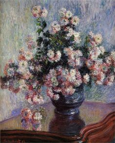 Chrysanthemums, by Claude Monet. 1880-1881, Impressionism. In the Met, and is rather breathtaking.