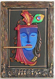 Murlidhar Krishna - (Wall Hanging) - Applique Cloth Craft (Applique Work on Cotton Cloth) Clay Wall Art, Mural Wall Art, Mural Painting, Fabric Painting, Murals, Krishna Painting, Krishna Art, Buddha Painting, Radhe Krishna