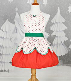 CHRISTMAS apron  womens full apron in red by loverdoversclothing