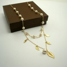 14k gold filled necklace with Swarovski pearls and leaves - by StarringYouJewelry, $70.00