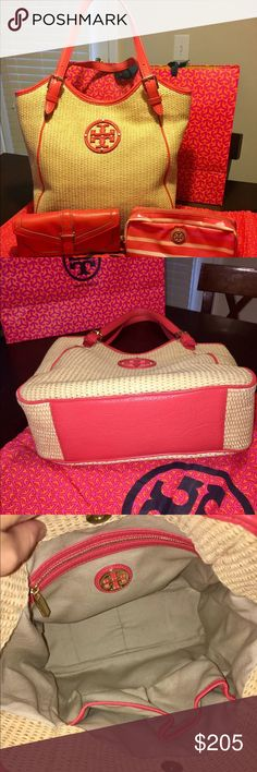 "TORY BURCH STRAW AND LEATHER SLOUCHY TOTE & MORE Bag is in excellent pre-owned condition. No rips or stains. The gold tone hardware does show some small scratches. 💯 authentic.  Original retail $295.   14""L x 12.5"" H x 4,5"" D. Included is Tory Burch zippered cosmetic case Coral/Poppy stripes  with gold emblem on front. Case is clean and no stains.  Also includes Tory Burch 797 Envelope Continental wallet in Poppy Red (Coral). Good pre-owned Condition. Pen mark inside flap ( see pic)…"