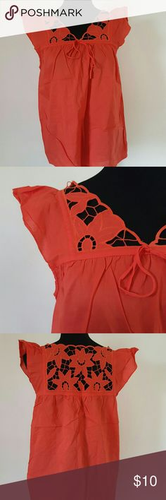 Zara Orange Floral Crotches Neckline Size Large Great condition Size Large  Crotched neckline  Flared shoulders  24 HOUR FLASH SALE - goes back up to $10 on June 15th @5pm Zara Tops