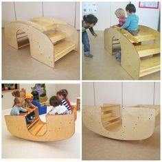 As+escadas+de+balanço+são+um+brinquedo+multifuncional.+<br>Por+um+lado,+oferece+oportunidades+de+experiência+de+movimentos+desde+as+crianças+engatinhantes,+como+até+quatro+crianças+apreciam+juntas+as+oscilações+e+movimentos+do+brinquedo.+<br>+<br>+<br>+<br>Tamanho:+<br>+<br>Aproximadamente+100+x+50+x+35+centímetros+<br>+<br>Madeira+compensada+de+Sumauma+<br>+<br>Acabamento+em+óleo+de+linhaça+e+cera+natural+de+abelha+<br>+<br>Para+outras+informações,+entre+em+contato! Montessori Playroom, Infant Classroom, Home Daycare, Homemade Toys, Classroom Design, Wood Toys, Diy Wood Projects, Kid Spaces, Diy Toys