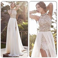 Long Prom Dresses,2016 Lace Applique Chiffon Prom Dresses, Formal Dresses, Halter Beaded Crystals Short Side Slit Backless Evening Gowns Summer Beach Wedding Dresses S363