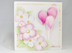 6 x 6 Balloon and Flower Greeting Card Baby Girl by 4SeasonCards
