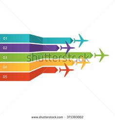 Modern vector illustration of Background with colorful airplanes. Vector Illustration in flat design style for presentation, booklet, website.