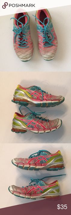 pretty nice 9bbf6 af84d ASICS Gel Kinsei 5 athletic shoes Good condition Pink blue yellow Smoke pet  free home
