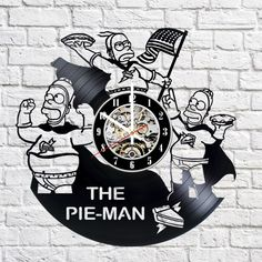 Pie Man The Simpsons Handmade Vinyl Record Wall Clock Fan Gift - VINYL CLOCKS