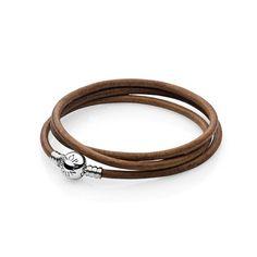 Moments Brown Triple Leather Bracelet - Pandora UK   PANDORA eSTO