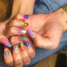 dua lipa nails being the most fun thing ever Nail Design Stiletto, Nail Design Glitter, Cute Acrylic Nail Designs, Cute Acrylic Nails, Gel Nails, Neon Nail Art, Nail Nail, Edgy Nails, Funky Nails
