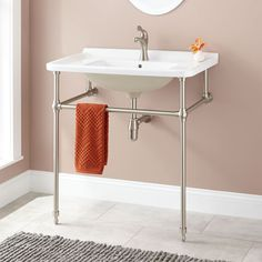 Kimra Porcelain Console Sink with Brass Stand - Brushed Nickel