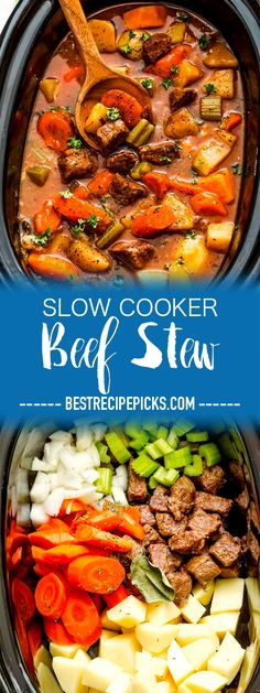 Slow Cooker Beef Stew (Homemade) makes the perfect comforting dish on a cold day. Best of all, this recipe is easy to make and simmers in the crock-pot for the most tender meat with carrots, potatoes, sweet potatoes and celery. #beef #stew #slowcooker