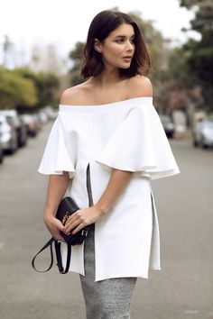 Off The Shoulder, In Grey and White