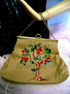 50s vintage Needlepoint Purse plastic gems Cherry's hand bag embroidery Collectible by Groovintuesday on Etsy https://www.etsy.com/listing/36070753/50s-vintage-needlepoint-purse-plastic