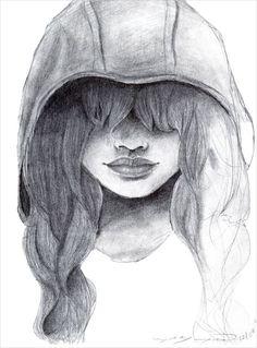 Charcoal Drawing Ideas Alone Girl Drawing - Sad Drawings, Fish Drawings, Amazing Drawings, Beautiful Drawings, Animal Drawings, Contour Drawings, Drawing Animals, Pencil Drawings, Charcoal Portraits