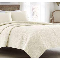 Laura Ashley Felicity Ivory Cotton 3-piece Quilt Set