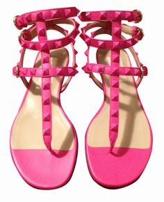 Valentino Pink Studded Fuchsia Leather Gladiator Sandal
