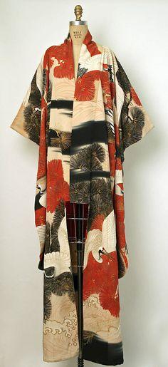 Japanese silk kimono: Met Museum collection ~AmyLH~ red white black grue crane