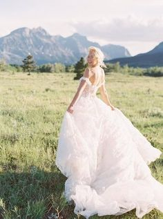 A Vibrant Sunset Elopement in Glacier National Park - the bride looks beautiful in our Galia Lahav embroidered tulle ballgown with a sheer corset and an off-the-shoulder detail. Outdoor Wedding Photography, Bridal Photography, Designer Wedding Dresses, Bridal Dresses, Wedding Photography Inspiration, Wedding Inspiration, Wedding Ideas, Bride Portrait, Bride Look