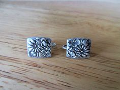 SOLD  $18.00  1965 Sterling EARRINGS- TOWLE Contessina Floral Antique Screwback-Screw Backs by feathersoup on Etsy