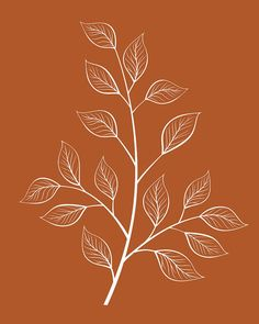 Diy Crafts - A simple, minimalist leaf print of a white tree branch and leaves on a warm, gray background. This printable botanical wall art would wor Zen Colors, Leaf Drawing, Tree Drawing Simple, Botanical Wall Art, Botanical Decor, Rustic Wall Art, Orange Background, Motif Floral, Leaf Art
