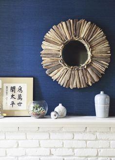 #driftwood #decor #swag #ocean #sea #water #coastal #nautical #beach #saltwater #wreath #mirror #bathroom #decor
