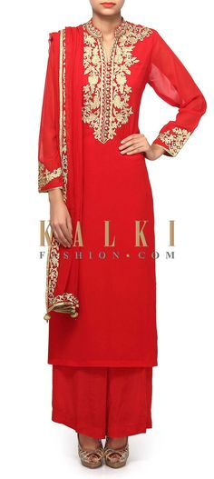 Buy Online from the link below. We ship worldwide (Free Shipping over US$100). Product SKU - 312185.Product Link - http://www.kalkifashion.com/red-straight-suit-featuring-in-zari-embroidery-only-on-kalki.html