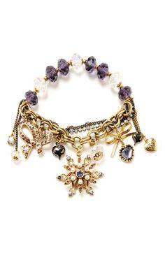 Betsey Johnson 'Tzar' Snowflake Charm Stretch Bracelet