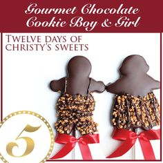 { The Twelve Days of Christy's Sweets }  On the fifth day of Christmas, my true love gave to me… A Gourmet Chocolate-Dipped Cookie!    Hand-dipped in Belgian chocolate, these adorable cookies are perfect for the loved ones in your life. Cookies are available in Gingerbread (Boy or Girl) or Sugar Cookie (Boy or Girl).Buy them separately or in one of our Holiday Cookie Arrangements.