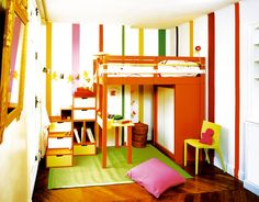 Loft Bed for Kids - like the storage arrangement on top and colors on 2nd pic but doesn't seem to be available in the US anyhow...