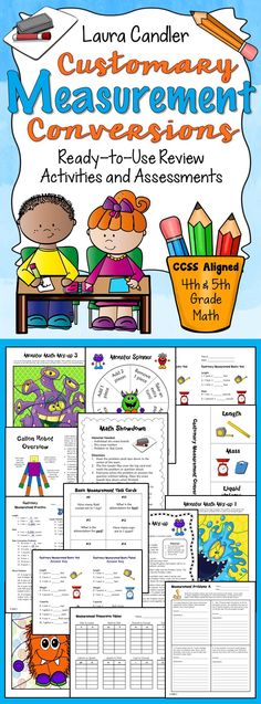 Customary Measurement Conversions - awesome activities to review and assess customary measurement basic units and conversions! Math center games, task cards, cooperative learning activities, printables, word problems, and tests. Aligned with CCSS 4th and 5th Grade - 4.MD.1, 4.MD.2, and 5.MD.1. $