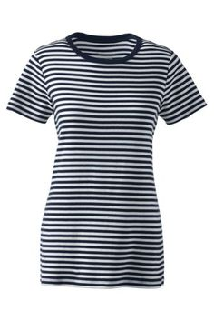 Women's Shaped Cotton Crewneck T-shirt from Lands' End