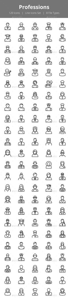 100+ Professions Line Icons