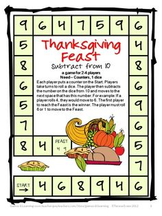 Fun math board game for Thanksgiving from Thanksgiving Math Games, Puzzles and Brain Teasers - a collection of Thanksgiving Math from Games 4 Learning. $