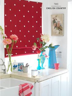 Three Ways To Decorate Stylishly With Blinds - Bright Bazaar by Will Taylor Kitchen Curtain Designs, Kitchen Curtains, Best Kitchen Faucets, Red Cottage, Red Kitchen, Kitchen Modern, Country Kitchen, Roman Blinds, Cozy House
