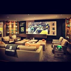 Love the Michigan State theme for a finished basement!