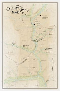 one of my latest work projects. a civil war era map. had so much fun making this. lots of research, lots of techniques. Civil War Battlefield map for Wilsons Creek Missouri