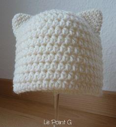 Bonnet Chat blanc. Tricot Grosse Laine, Tricot Chat, Tricots, Tricot Et  Crochet f93c8dd3daf