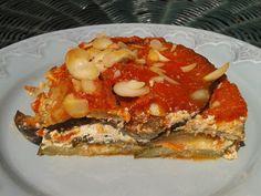 Lasanha de beringela e courgete com ricotta de tofu e ervas
