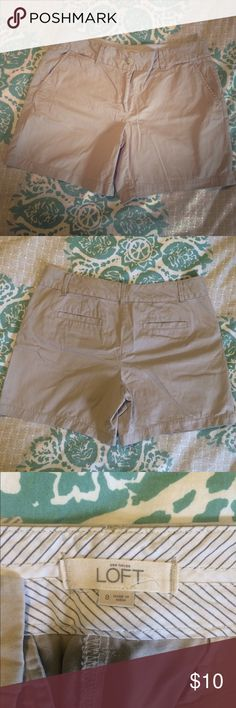 "LOFT Riviera Shorts, Khaki, 6"" inseam, size 8 LOFT Riviera shorts, size 8. Approx 6"" inseam. Waist and thigh are generous cut. Pockets at sides and back. Great condition! LOFT Shorts"