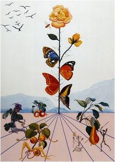 butterflies by Salvador Dali wings along the flower stem are after this painting by salvador dali Max Ernst, Salvador Dali Gemälde, Salvador Dali Paintings, Salvador Dali Quotes, Grand Art, Jean Arp, Rene Magritte, Photo D Art, Art Graphique