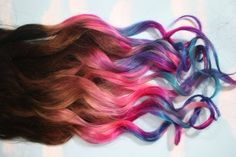pink blue purple hair with curls