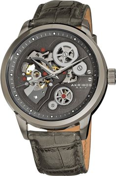 New Akribos XXIV Men's AK538GY Mechanical Skeleton Leather Strap Watch $595 in Jewelry & Watches | eBay