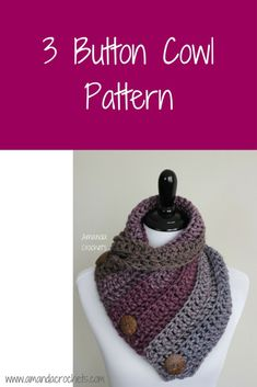 crochet scarfs 3 button cowl - Today I'm going to share my 3 button cowl pattern. This is a simple yet beautiful cowl pattern using Caron Tea Cake yarn. This is a perfect winter accessory Crochet Cowl Free Pattern, Crochet 101, Crochet Poncho, Crochet Scarves, Crochet Stitches, Free Crochet, Crochet Ideas, Irish Crochet, Necklaces