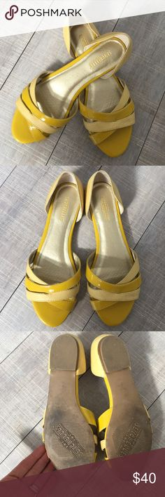 Seychelles yellow flats sandals 6.5 Gorgeous and barely worn pair of Seychelles sandals.  These are size 6.5 but are a little big on me, even with little insoles my heel always lifted out.  As much as I'd love to keep these they just don't work for me. Seychelles Shoes Sandals