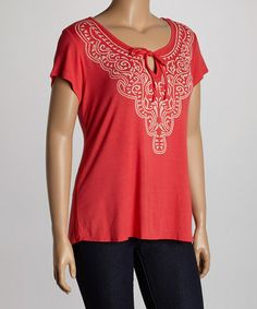 Look what I found on #zulily! Coral Abstract Accent Top - Plus by Wrapper #zulilyfinds
