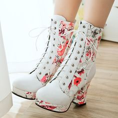 Womens Block Platform Lace Up High Heel Ankle Boot Floral Roma Lace Up Shoe Plus #platformhighheelsfloralprints